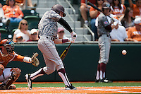 Texas A&M Aggies outfielder Tyler Naquin #18 swings during the NCAA baseball game against the Texas Longhorns on April 29, 2012 at UFCU Disch-Falk Field in Austin, Texas. The Longhorns beat the Aggies 2-1 in the last ever regular season game scheduled for the long time rivals. (Andrew Woolley / Four Seam Images)
