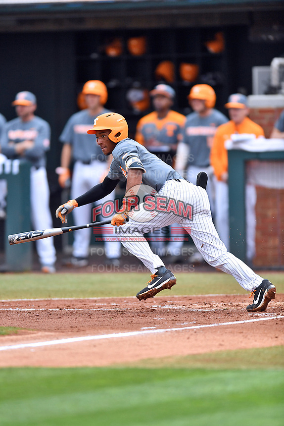 Tennessee Volunteers second baseman Jay Charleston (4) swings at a pitch during a game against the University of North Carolina Greensboro (UNCG) Spartans at Lindsey Nelson Stadium on February 24, 2018 in Knoxville, Tennessee. The Volunteers defeated Spartans 11-4. (Tony Farlow/Four Seam Images)