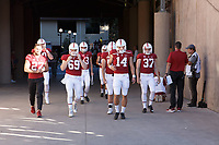 Stanford, CA - September 8, 2018: Stanford enters the stadium before the kick off of the the Stanford vs USC football game Saturday night at Stanford Stadium.<br /> <br /> Score was USC3, Stanford 17.