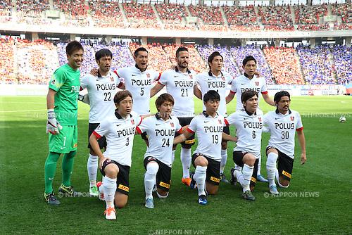 Urawa Reds team group line-up, OCTOBER 24, 2015 - Football / Soccer : Urawa Reds team group shot (Top row - L to R) Shusaku Nishikawa, Yuki Abe, Tomoaki Makino, Zlatan Ljubijankic, Daisuke Nasu, Ryota Moriwaki, (Bottom row - L to R) Tomoya Ugajin, Takahiro Sekine, Yuki Muto, Yosuke Kashiwagi and Shinzo Koroki before the 2015 J1 League 2nd stage match between F.C.Tokyo 3-4 Urawa Red Diamonds at Ajinomoto Stadium in Tokyo, Japan. (Photo by AFLO)