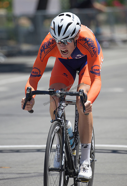 Jake Taylor of the Davis Bike Club Race Team from Rancho Cordova, Ca drives to the finish line in the Elite 3/4 division of the Tour De Nez Bike Race in downtown Reno on Saturday, June 11, 2016.  Taylor was the Elite 3 winner.