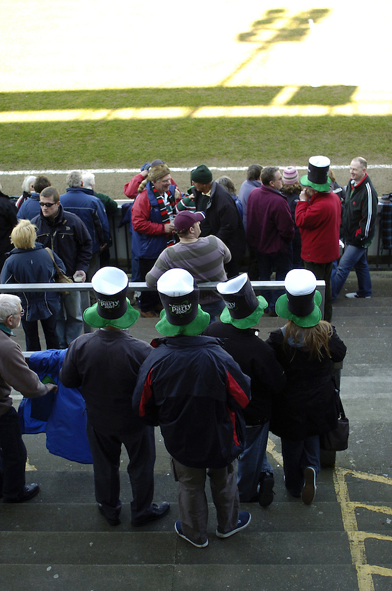 Photo: Jonathan Butler..Leicester Tigers v Bath Rugby. Guinness Premiership. 17/03/2007..Fans enjoy St Patrick's day at Welford Road by wearing Guinness hats.