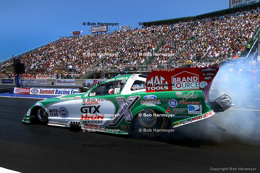 NORWALK, OH - JULY 1: John Force drives his Funny Car during the Summit Racing Equipment NHRA Nationals on July 1, 2007, at Summit Motorsports Park near Norwalk, Ohio.
