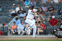 Jonathan Arauz (27) of the Fayetteville Woodpeckers at bat against the Carolina Mudcats at SEGRA Stadium on May 18, 2019 in Fayetteville, North Carolina. The Mudcats defeated the Woodpeckers 6-4. (Brian Westerholt/Four Seam Images)