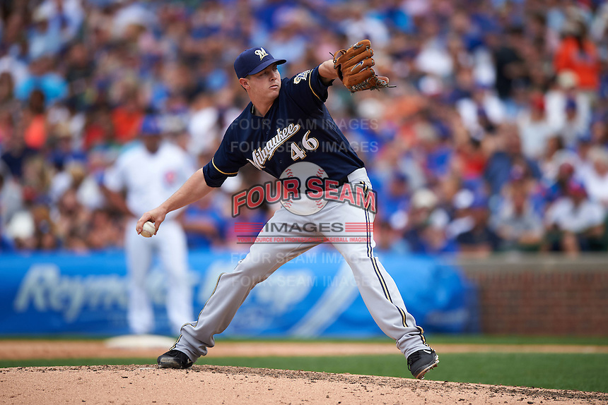 Milwaukee Brewers pitcher Corey Knebel (46) delivers a pitch during a game against the Chicago Cubs on August 13, 2015 at Wrigley Field in Chicago, Illinois.  Chicago defeated Milwaukee 9-2.  (Mike Janes/Four Seam Images)