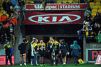 Fans wait for the team to walk off after the Super Rugby match between the Hurricanes and Highlanders at Westpac Stadium, Wellington, New Zealand on Friday, 27 May 2016. Photo: Dave Lintott / lintottphoto.co.nz