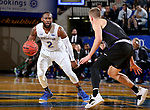 BROOKINGS, SD - NOVEMBER 6: Tevin King #2 from South Dakota State University looks to make a move against Trey Drechsel #2 from Grand Canyon University during their game Tuesday night at Frost Arena in Brookings, SD. (Photo by Dave Eggen/Inertia)