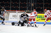 Jenelle Kohanchuk (BU - 19) scores the opening goal - Lauren Covell (Providence - 8), Genevieve LaCasse (Providence - 27), Jean O'Neill (Providence - 25), Jillian Kirchner (BU - 18) - The Boston University Terriers defeated the Providence College Friars 5-3 on Saturday, November 14, 2009, at Agganis Arena in Boston, Massachusetts.