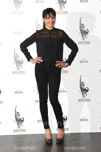 Freida Pinto at the Desert Dancer photocall held at Sadler's Wells,.London. 09/10/2012 Picture by: Henry Harris / Featureflash