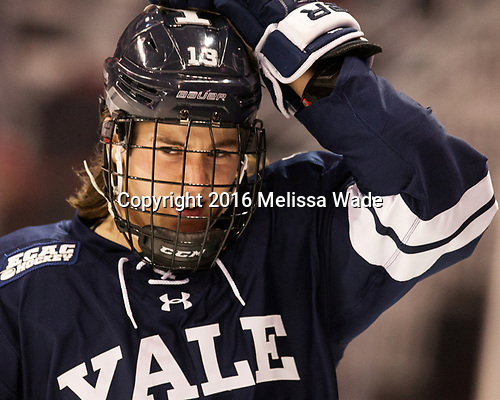 Evan Smith (Yale - 13) The Boston University Terriers defeated the visiting Yale University Bulldogs 5-2 on Tuesday, December 13, 2016, at the Agganis Arena in Boston, Massachusetts.