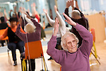 Pix: Shaun Flannery/sf-pictures.com..COPYRIGHT PICTURE>>SHAUN FLANNERY>01302-570814>>07778315553>>..12th January 2009............St James Leisure Centre, Doncaster..94 year old Maud Granger takes part in a 'keep-fit' class.