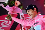 Race leader Richard Carapaz (ECU) Movistar Team extends his lead and retains the Maglia Rosa at the end of Stage 17 of the 2019 Giro d'Italia, running 181km from Commezzadura (Val di Sole) to Anterselva / Antholz, Italy. 29th May 2019<br /> Picture: Gian Mattia D'Alberto/LaPresse | Cyclefile<br /> <br /> All photos usage must carry mandatory copyright credit (© Cyclefile | Gian Mattia D'Alberto/LaPresse)