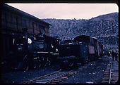 RGS #20 coaling-up at Clifton-Burnett coal chutes in Vance Juntion with a RMRRC excursion.  Rotary snowplow #2 is on the next track.<br /> RGS  Vance Junction, CO  Taken by Maxwell, John W. - 5/30/1947