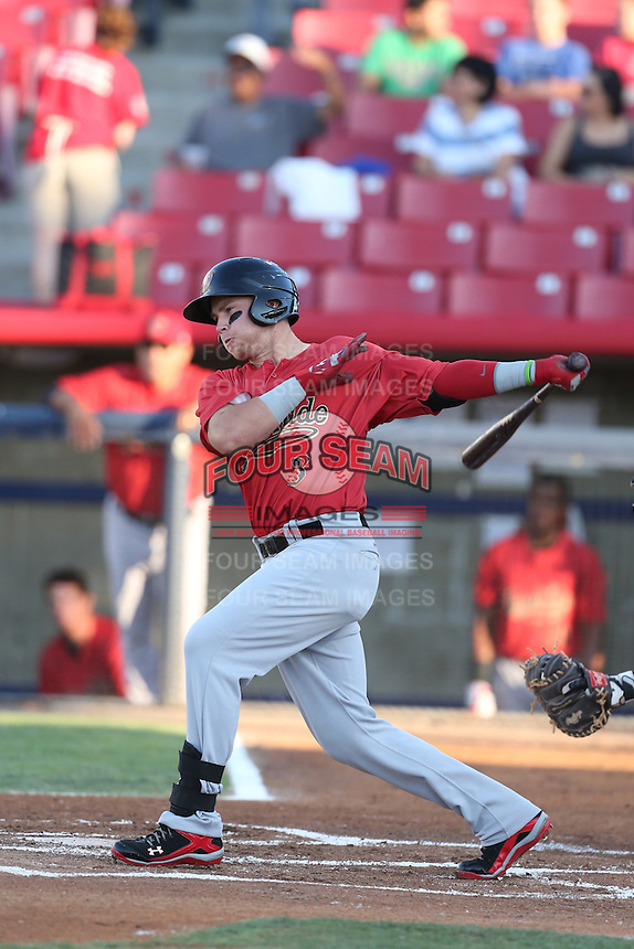 Brandon Drury #3 of the Visalia Rawhide bats against the High Desert Mavericks at Heritage Field on July 19, 2014 in Adelanto, California. Visalia defeated High Desert, 10-9. (Larry Goren/Four Seam Images)