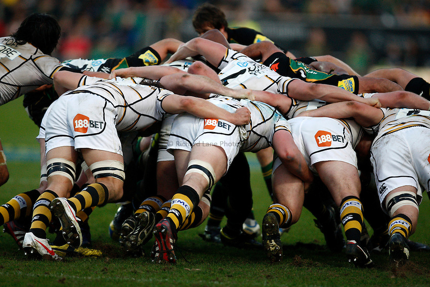 Photo: Richard Lane/Richard Lane Photography. Northampton Saints v London Wasps. Aviva Premiership. 24/03/2012. Wasps scrum.