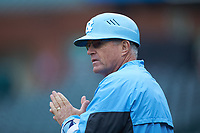 North Carolina Tar Heels head coach Mike Fox coaches third base during the game against the Boston College Eagles in Game Five of the 2017 ACC Baseball Championship at Louisville Slugger Field on May 25, 2017 in Louisville, Kentucky. The Tar Heels defeated the Eagles 10-0 in a game called after 7 innings by the Mercy Rule. (Brian Westerholt/Four Seam Images)