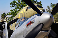 World War II era P-51H Mustang and C-47 Dakota sit on the ramp at Grass Valley, California