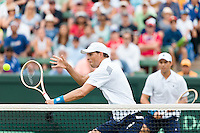 March 5, 2016: Mike and Bob Bryan of USA in action against Lleyton Hewitt and John Peers of Australia during the doubles match of the BNP Paribas Davis Cup World Group first round tie between Australia and USA at Kooyong tennis club in Melbourne, Australia. Photo Sydney Low