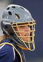 Florida International University catcher/utility Megan Horne (00) plays against the University of Louisville which won the game 4-2 on February 11, 2012 at Miami, Florida. .