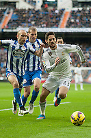 Real Madrid´s Isco and Deportivo de la Coruna's Alex Bergantinos and Laureano Sanabria Ruiz during 2014-15 La Liga match between Real Madrid and Deportivo de la Coruna at Santiago Bernabeu stadium in Madrid, Spain. February 14, 2015. (ALTERPHOTOS/Luis Fernandez) /NORTEphoto.com