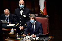 The Italian president of the Lower Chamber Roberto Fico wearing a face mask during the information about the next European Council at the Chamber of Deputies. Rome (Italy), July 15th 2020<br /> Foto Pool Paolo Tre Insidefoto