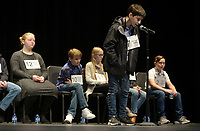 NWA Democrat-Gazette/ANDY SHUPE<br /> Saturday, Jan. 12, 2019, while competing in the Washington County Spelling Bee at the Farmington Performing Arts Center.