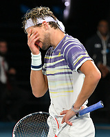 January 2, 2020: 5th seed DOMINIC THIEM (AUT) reacts after losing a point 2nd seed NOVAK DJOKOVIC (SRB) on Rod Laver Arena in a Men's Singles Final match on day 14 of the Australian Open 2020 in Melbourne, Australia. Photo Sydney Low