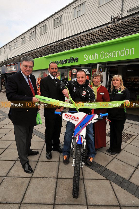 Lakeside Hammers speedway rider Paul Hurry opens the new Co-op in South Ockendon 12/03/10 - Co-Op South Ockendon L-R Tony Gudgeon CEO Co-op, Barry Wood dept CEO Paul Hurry,  Jan Martin Vice President Co-op and Sarah Cole from the South Ockendon store - MANDATORY CREDIT: TGSPHOTO - Self billing applies where appropriate - Tel: 0845 094 6026