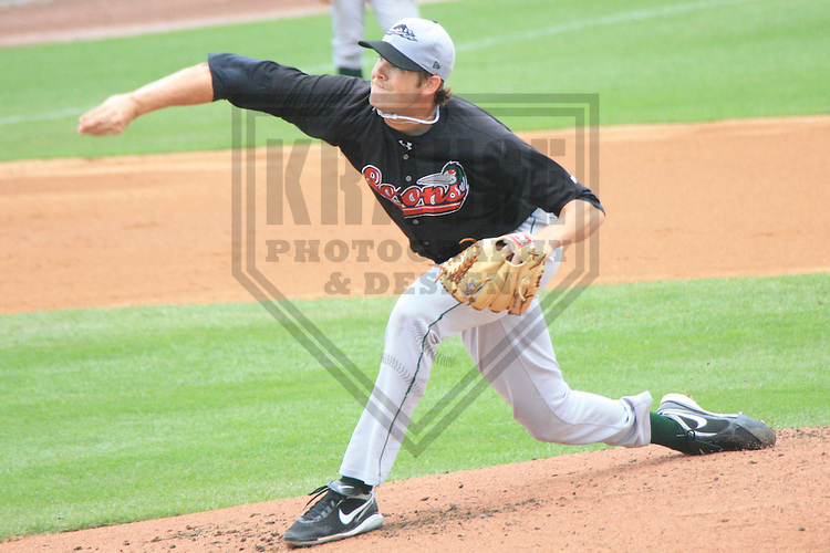 APPLETON - JULY 2010: Josh Wall of the Great Lakes Loons, Class-A affiliate of the Los Angeles Dodgers, during a game on July 18, 2010 at Fox Cities Stadium in Appleton, Wisconsin. (Photo by Brad Krause)