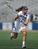Alyssa Parrella #7 of Hofstra University carries downfield during a CAA women's lacrosse game against Towson at Shuart Stadium in Hempstead, NY on Sunday, April 16, 2017. Hofstra won by a score of 17-15.