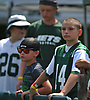 A young fan wearing a Sam Darnold jersey (#14) watches New York Jets team practice at the Atlantic Health Jets Training Center in Florham Park, NJ on Saturday, July 28, 2018. The quarterback, who was selected third overall in the 2018 NFL Draft, was not at practice.