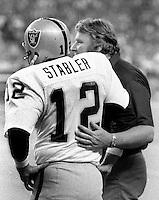 Raiders John Madden & Ken Stabler in Seattle, (1978 photo by Ron Riesterer)