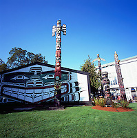 Victoria, BC, Vancouver Island, British Columbia, Canada - Kwakwaka'wakw (Kwakiutl) Longhouse (Mungo Martin House) and Totem Poles in Thunderbird Park