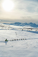 Ryan Redington runs in Ptarmigan Valley in the late afternoon his way to Rohn in the Alaska Range during the 2019 Iditarod on Monday, March 4th 2019.<br /> <br /> Photo by Jeff Schultz/  (C) 2019  ALL RIGHTS RESERVED