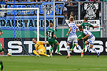 11.08.2019, Schauinsland-Reisen-Arena, Duisburg, GER, DFB-Pokal, MSV Duisburg vs SpVgg Greuther Fuerth, DFL regulations prohibit any use of photographs as image sequences and/or quasi-video<br /> <br /> im Bild Tim Albutat (#14, MSV Duisburg) macht das Tor zum 2:0<br /> <br /> Foto © nordphoto/Mauelshagen