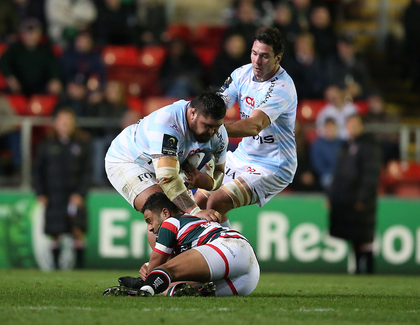 Racing 92's Ben Tameifuna is tackled by Leicester Tigers' Telusa Veainu<br /> <br /> Photographer Stephen White/CameraSport<br /> <br /> Rugby Champions Cup Pool 1 - Leicester Tigers v Racing 92 - Sunday 23rd October 2016 - Welford Road - Leicester<br /> <br /> World Copyright &copy; 2016 CameraSport. All rights reserved. 43 Linden Ave. Countesthorpe. Leicester. England. LE8 5PG - Tel: +44 (0) 116 277 4147 - admin@camerasport.com - www.camerasport.com