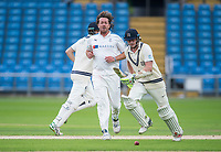 Picture by Allan McKenzie/SWpix.com - 07/09/2017 - Cricket - Specsavers County Championship - Yorkshire County Cricket Club v Middlesex County Cricket Club - Headingley Cricket Ground, Leeds, England - Yorkshire's Ryan Sidebottom reacts with dispondance as Middlesex's Adam Voges & Sam Robson take a run.