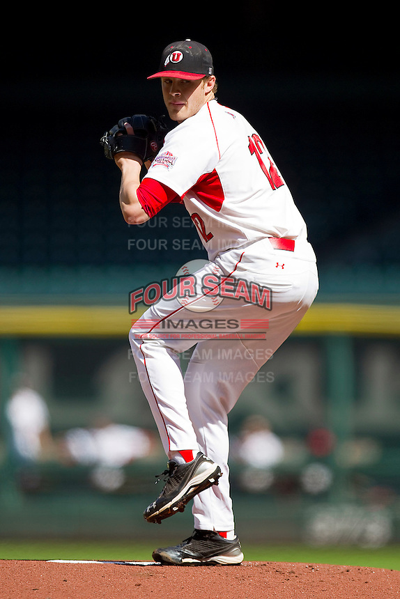 Starting pitcher Joe Pond #12 of the Utah Utes in action against the Kentucky Wildcats at Minute Maid Park on March 6, 2011 in Houston, Texas.  Photo by Brian Westerholt / Four Seam Images
