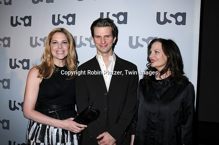 """The Cast of """"In Plain Sight"""" Mary McCormack, Frederick Weller and Lesley Ann Warren.posing for photographers at The USA Network Upfront.on March 26, 2008 at The Modern. ..Robin Platzer, Twin Images"""