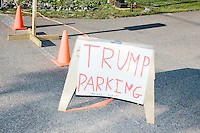A sign indicates parking for a rally held by real estate mogul and Republican presidential candidate Donald Trump at the Weirs Beach Community Center in Laconia, New Hampshire.
