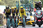 Team Jumbo-Visma including Yellow Jersey Mike Theunison (BEL) in action during Stage 2 of the 2019 Tour de France a Team Time Trial running 27.6km from Bruxelles Palais Royal to Brussel Atomium, Belgium. 7th July 2019.<br /> Picture: Colin Flockton | Cyclefile<br /> All photos usage must carry mandatory copyright credit (© Cyclefile | Colin Flockton)