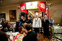 LOS ANGELES, CA--Trent Murphy poses in his new uniform as the honorary carver during the annual Beef Bowl dinner at Lawry's restaurant in Los Angeles.