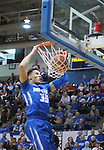 February 20, 2016 - Colorado Springs, Colorado, U.S. -   Air Force forward, Hayden Graham #35, completes a dunk during an NCAA basketball game between the University of New Mexico Lobos and the Air Force Academy Falcons at Clune Arena, United States Air Force Academy, Colorado Springs, Colorado.  Air Force defeats New Mexico 76-72.