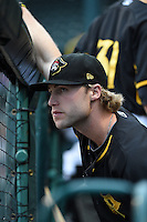 Bradenton Marauders outfielder Taylor Lewis (6) in the dugout during a game against the Jupiter Hammerheads on April 19, 2014 at McKechnie Field in Bradenton, Florida.  Bradenton defeated Jupiter 4-0.  (Mike Janes/Four Seam Images)