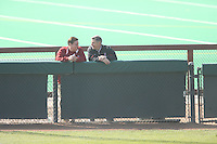 17 February 2008: Stanford Cardinal deputy director of athletics Ray Purpur (left) and director of athletics Bob Bowlsby (right) during Stanford's 2-0 win against the Wichita State Shockers in the Stanford Invitational I at the Boyd and Jill Smith Family Stadium in Stanford, CA.