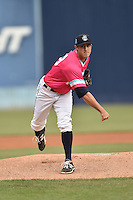 Asheville Tourists starting pitcher Zach Jemiola (29) delivers a pitch during a game against the Rome Braves on May 15, 2015 in Asheville, North Carolina. The Braves defeated the Tourists 6-0. (Tony Farlow/Four Seam Images)