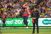 10th February 2018, Melbourne Cricket Ground, Melbourne, Australia; International Twenty20 Cricket, Australia versus England;  David Willey of England bowls