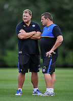 Bath Rugby First team coaches Neal Hatley and Toby Booth. Bath Rugby training session on September 4, 2015 at Farleigh House in Bath, England. Photo by: Patrick Khachfe / Onside Images