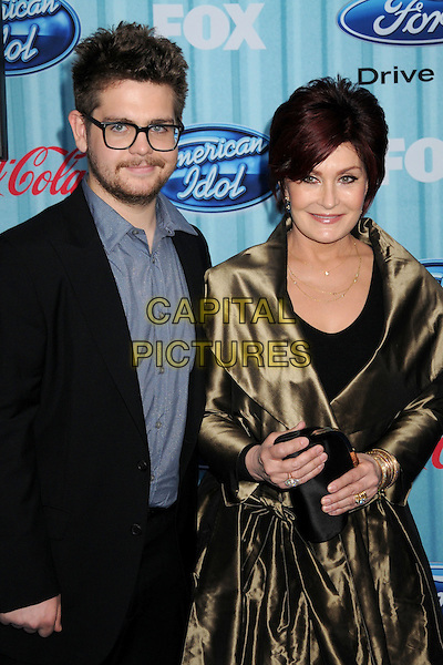 JACK OSBOURNE & SHARON OSBOURNE.American Idol Top 12 Party held at Area, Los Angeles, California, USA.March 5th, 2009.half length necklaces green gold beige bronze silk satin coat jacket blue shirt glasses stubble facial hair beard mother mom mum son family .CAP/ADM/BP.©Byron Purvis/AdMedia/Capital Pictures.