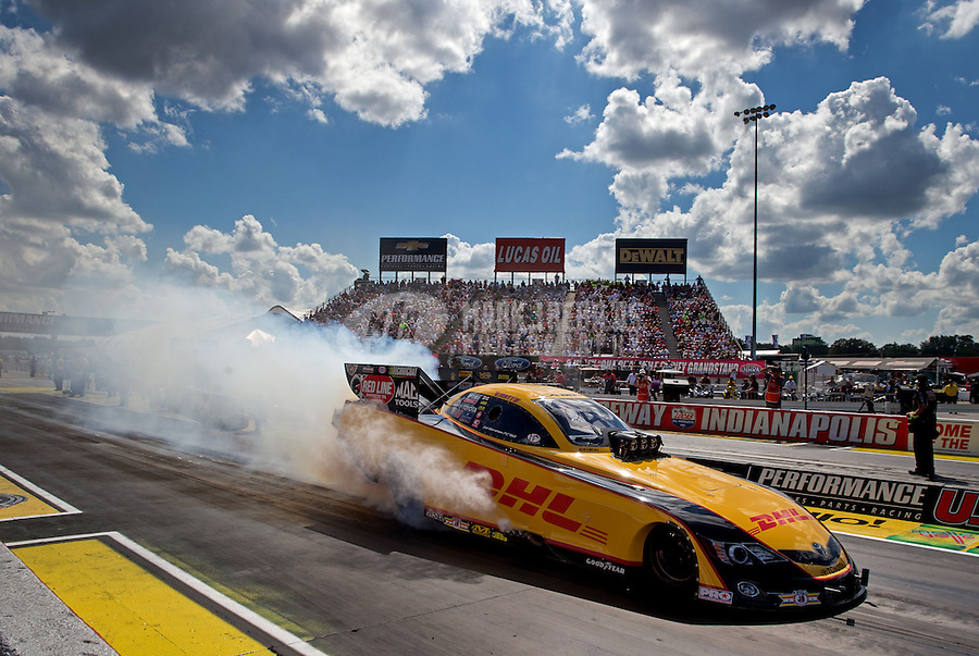 Sept. 2, 2013; Clermont, IN, USA: NHRA funny car driver Del Worsham during the US Nationals at Lucas Oil Raceway. Mandatory Credit: Mark J. Rebilas-